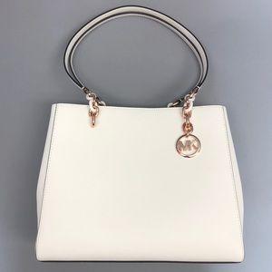 New Michael Kors Sofia White Leather LG Tote NS